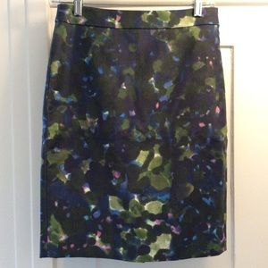 J. CREW watercolor floral No. 2 Pencil Skirt